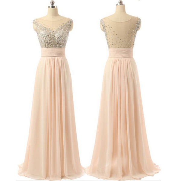 Chiffon Seen-through Back Cheap Charming Party Evening Beaded Long Prom Dress, PD0181 - Wish Gown