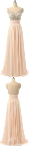 Chiffon Seen-through Back Cheap Charming Party Evening Beaded Long Prom Dress, PD0181