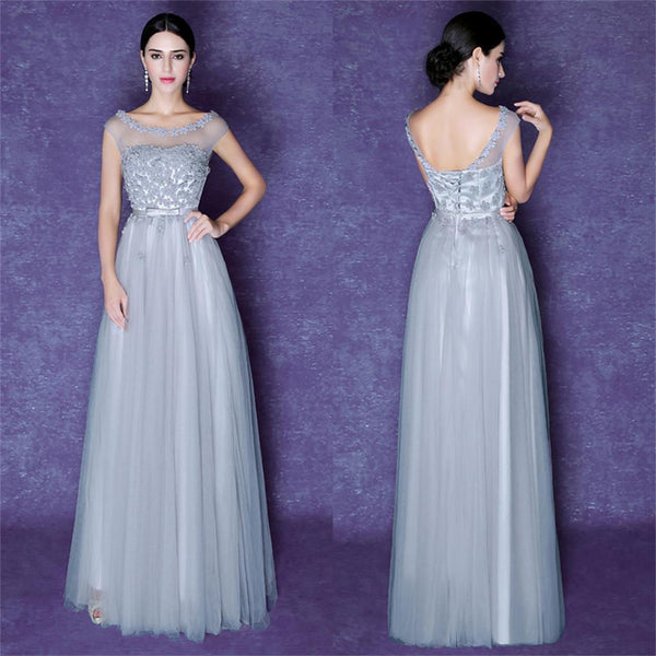 Tulle Scoop Gray Beautiful Cheap Bridesmaid Party Evening Long Prom Dress, PD0183