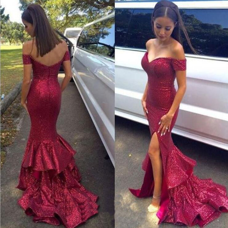 Red Sequined Off Shoulder Sparkle Mermaid Sexy Party Cocktail Evening Long Prom Dress, PD0184