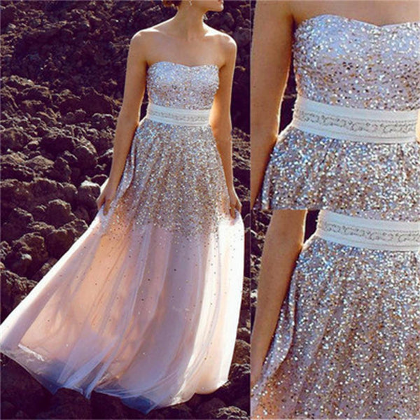 Strapless Sparkle Shinning Affordable Evening Party Long Prom Dress, PD0187