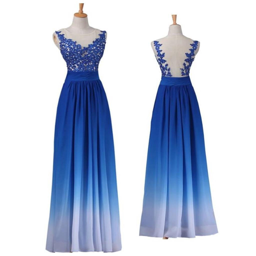 Chiffon Gradient Blue White Lace Appliques Party Cocktail Evening Long Prom Dress, PD0189 - Wish Gown
