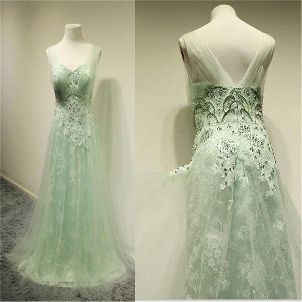 Tulle Sweet Unique Green Lace Formal A line Cheap Custom Make Evening Long Prom Dress, PD0193