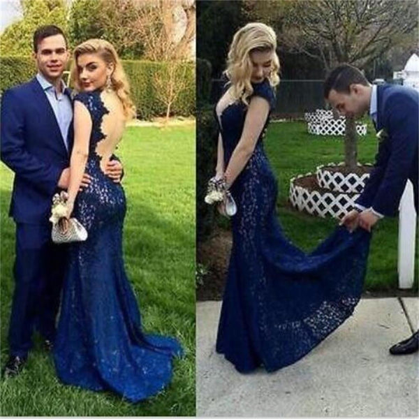 Royal Blue Backless Lace Sexy Mermaid Charming Long Evening Prom Dresses, PD0196