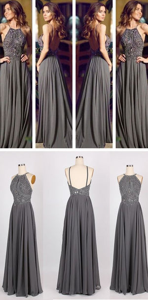 Long Gray Chiffon Popular Cheap Open Back Sexy Women Evening Prom Dresses, PD0032