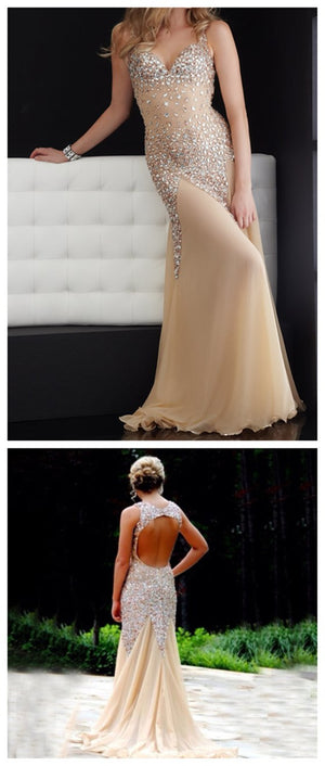 Sparkle Open Back Rhinestone Mermaid Sexy Gorgeous Long Evening Prom Dresses, PD0037