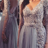 Long Sleeve Grey Lace Backless V-Neck Cheap Custom Make Long Prom Dresses, PD0038