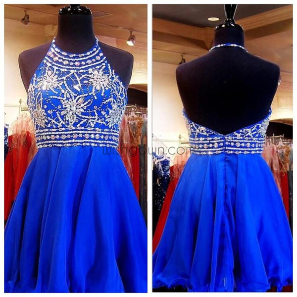 Beaded Royal Blue Short Halter Cute Sweet 16 Cocktail Graduation Homecoming Dress, PD0004 - Wish Gown