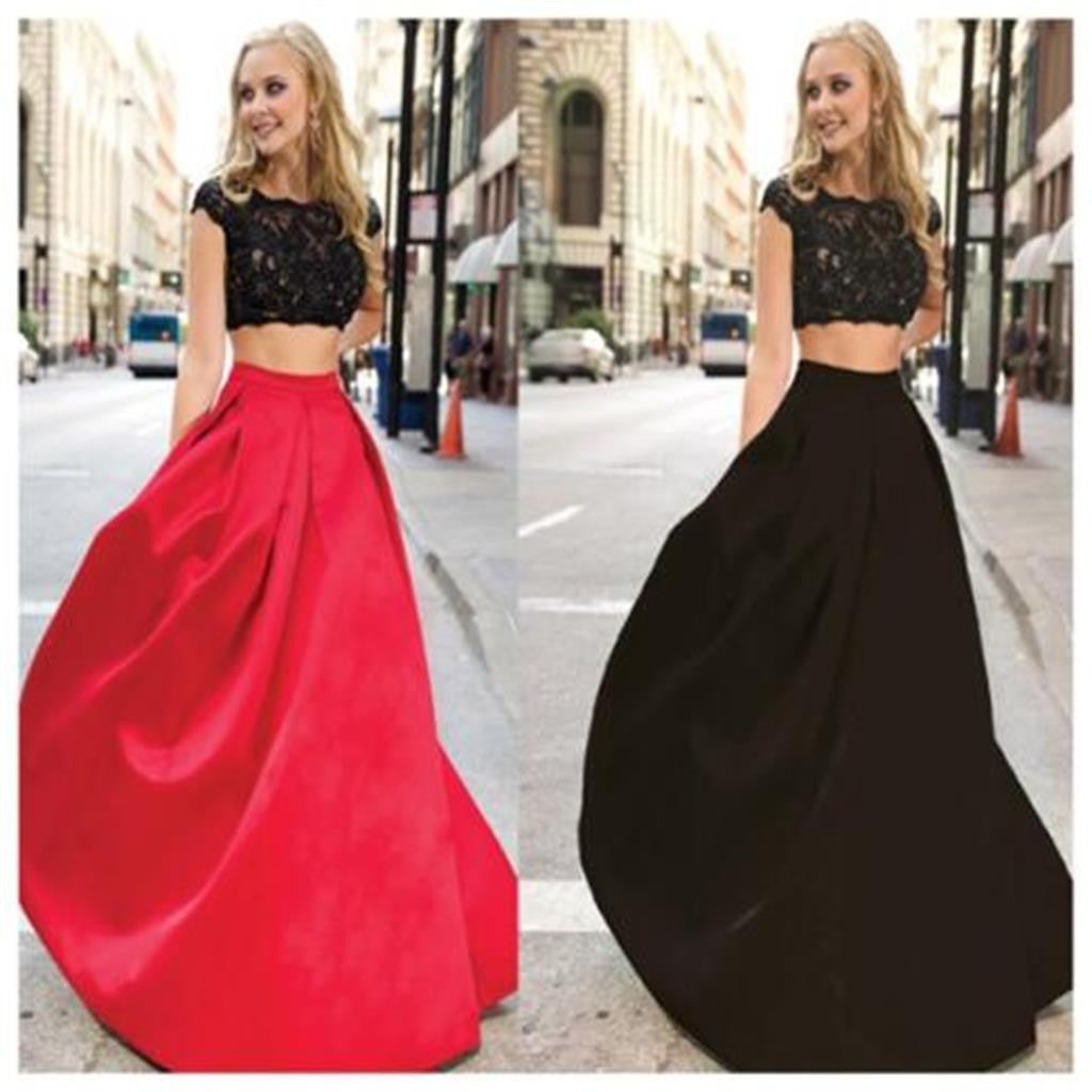 Long Two Pieces Cap Sleeve Simple Red and Black Lace Affordable Evening Prom Dresses, PD0043