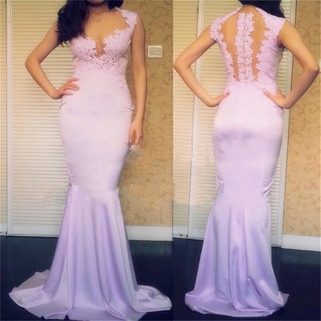 Mermaid Formal Long Pretty Newest See Through Back Lace Party Evening Prom Dresses, PD0044