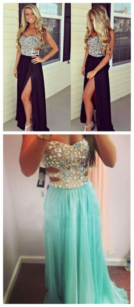 Long Black Seet Heart Sleeveless Side Slit Chiffon Formal Party Evening Prom Dresses, PD0047