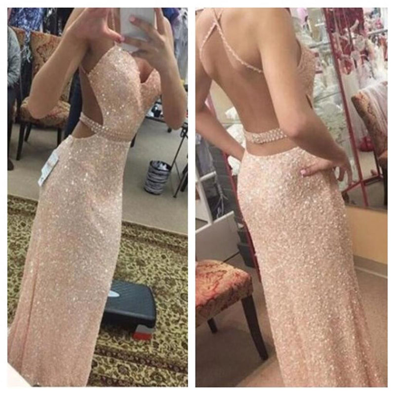 Sexy Backless Sequined Mermaid Evening Spaghetti Straps Long Prom Dress, PD0051