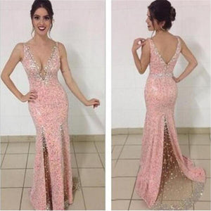 Pink Sexy Mermaid Deep V-neck Newest Shinning Long Evening Party Prom Dress, PD0053