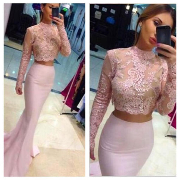 Two Pieces Ivory Lace Mermaid Long Sleeves High Neck Fashion Long Evening Party Prom Dress, PD0054