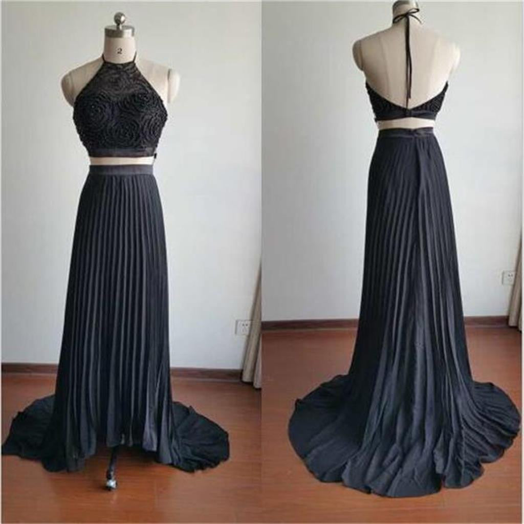Two Pieces Halter Backless Beading Newest Evening Party Cheap Long Prom Dress, PD0061