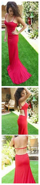 Spaghetti Straps Sexy Mermaid Open Back Unique Red Evening Long Prom Dress, PD0064