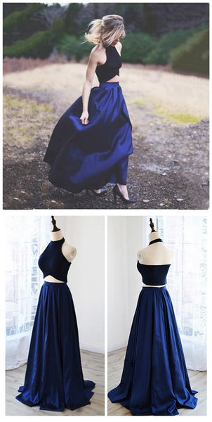 Two Pieces Halter Royal blue A-line Unique New Design Evening Long Prom Dress, PD0067