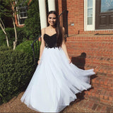 Long Spaghetti Straps Black White Sweet Heart Long Simple Tulle Prom Dresses, PD0068