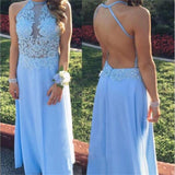 Long Chiffon Blue Simple Lace Open Back Sexy Junior Popular Cheap Prom Dresses, PD0070