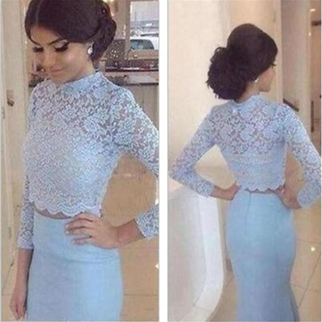 Long Sleeves Two Pieces Blue Lace High Neck Mermaid Sexy Long Evening Prom Dresses, PD0074