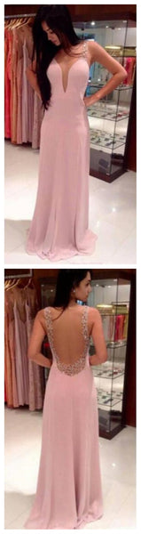 Pink Deep V-Neck Backless Long Pretty Evening Pary Affordable Maxi Prom Dresses, PD0076