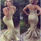 Gold Sequin Sparkle Sweetheart Long Charming Mermaid Evening Party Prom Dresses Online, PD0079 - Wish Gown