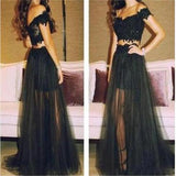 Black Two Pieces Off Shoulder Tulle Lace Party Cocktail Evening Long Cheap Prom Dress, PD0171