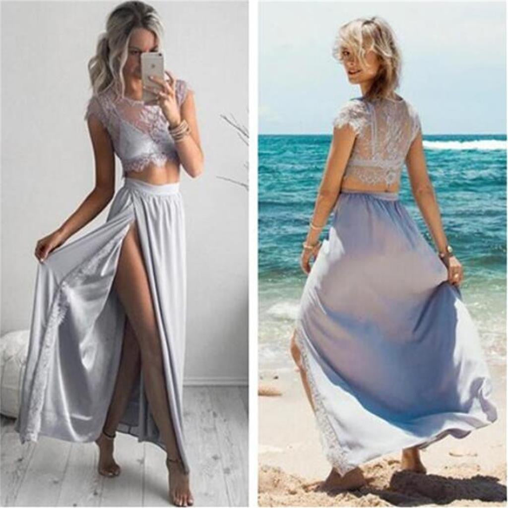 Two Pieces Cap Sleeves Side Slit Sexy Lace Cheap Beach Party Prom Dresses, PD0089