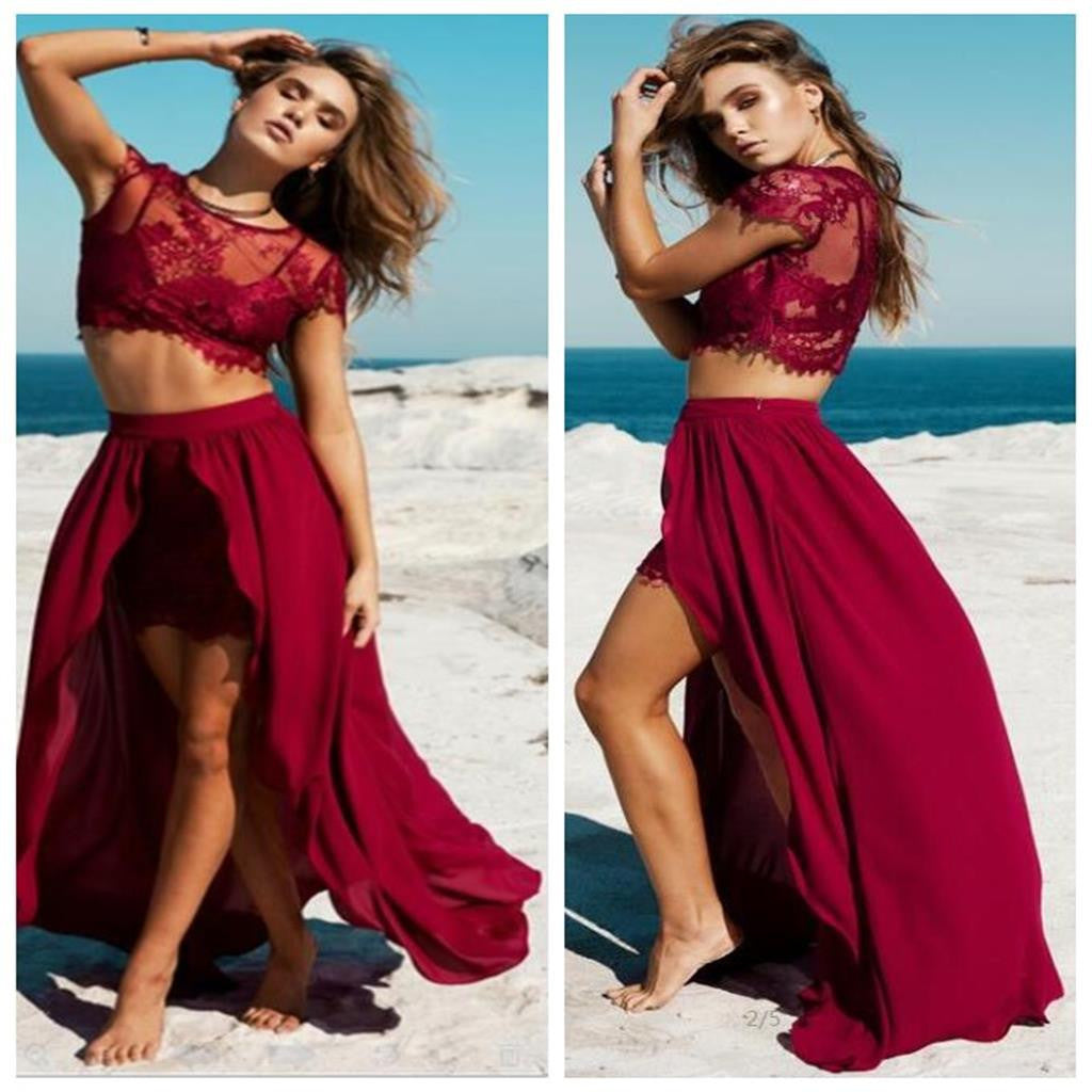 Unique Burgundy Sexy Lace Slit Two-piece Party Cheap Evening Long Prom Dress, PD0091