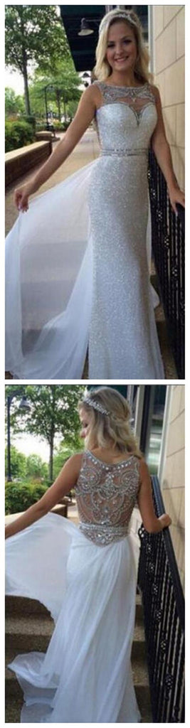 Long White Off Shoulder Sleeveless Sparkle Sequin Elegant Discount Newest Prom Dresses, PD0092