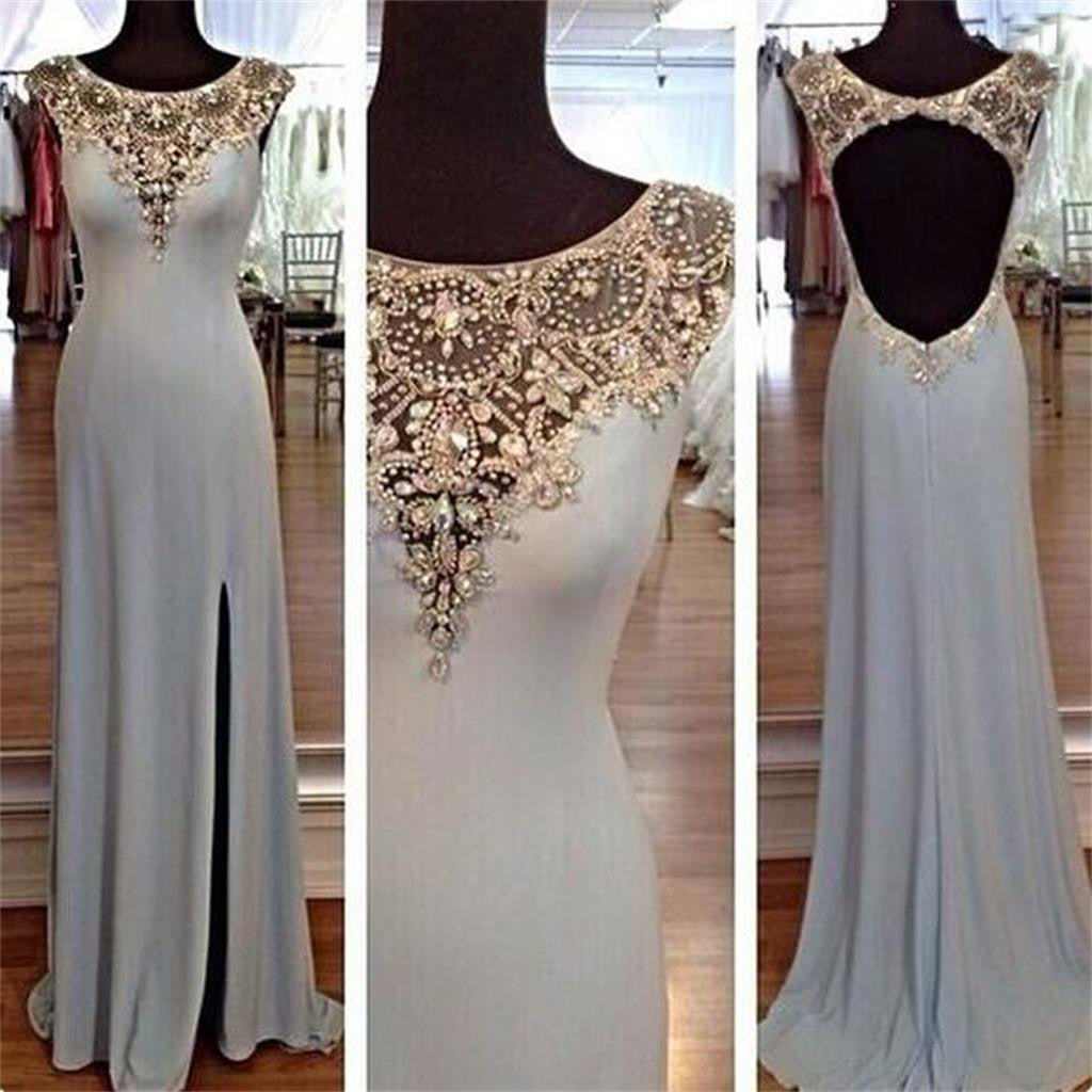 Long Sexy Cap Sleeves Open Back Elegant Side Split aDiscount Popular Prom Dresses, PD0097