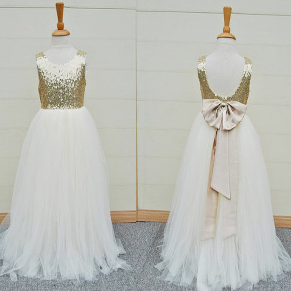 Gold Sequin Top White Tulle Cute Flower Girl Dresses For Wedding Party, FG002 - Wish Gown