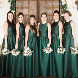 Simple Elegnat Cheap Formal Satin Wedding Long Bridesmaid Dresses, WG472