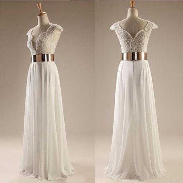White Beading Cap Sleeves Elegant Custom Long Side Slit Party Evening Prom Dresses, PD0082