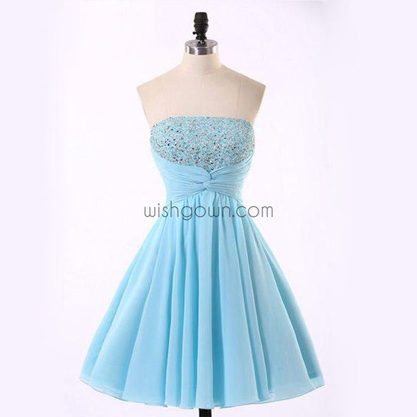Junior Cute Cheap Straight Neckline Light Blue homecoming dresses, CM0018