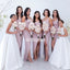Elegant Squre Mermaid Split Side Long Bridesmaid Dresses YPS119
