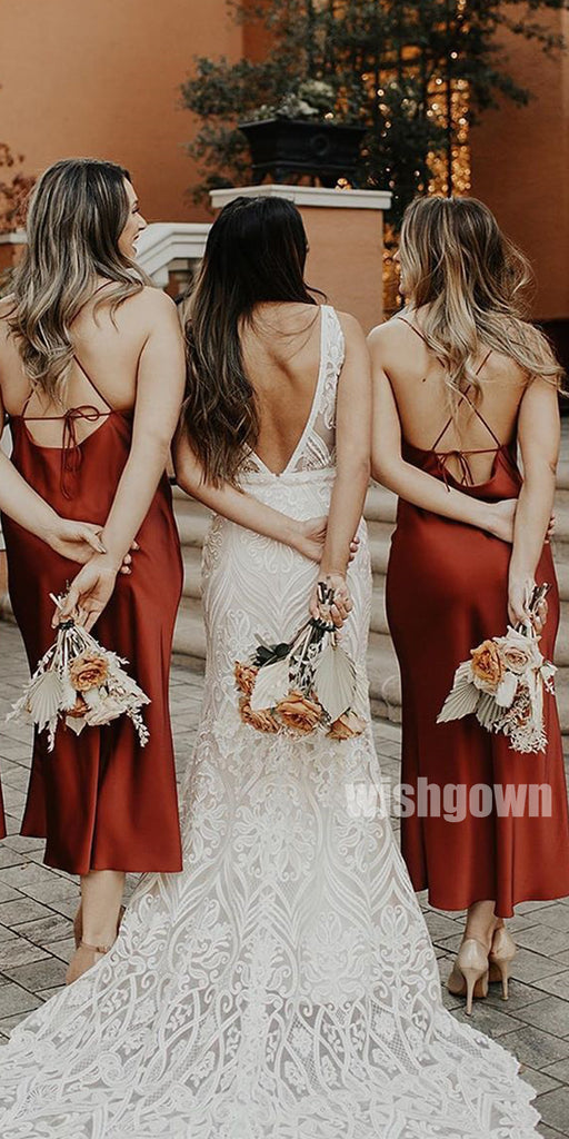 Sexy Dark Red Spaghetti Srap Long Bridesmaid Dresses YPS121