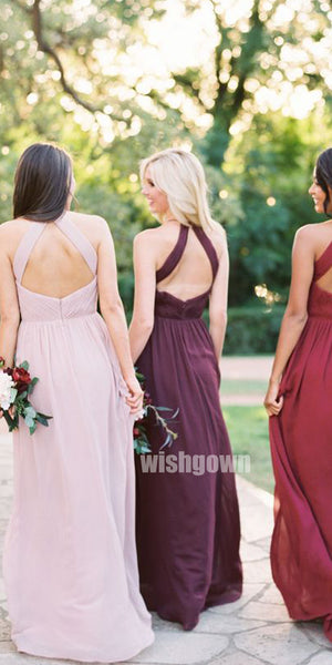 Elegant Halter Grecian  Long Bridesmaid Dresses YPS122