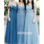Charming Off-the-shoulder Blue Long Bridesmaid Dresses YPS123