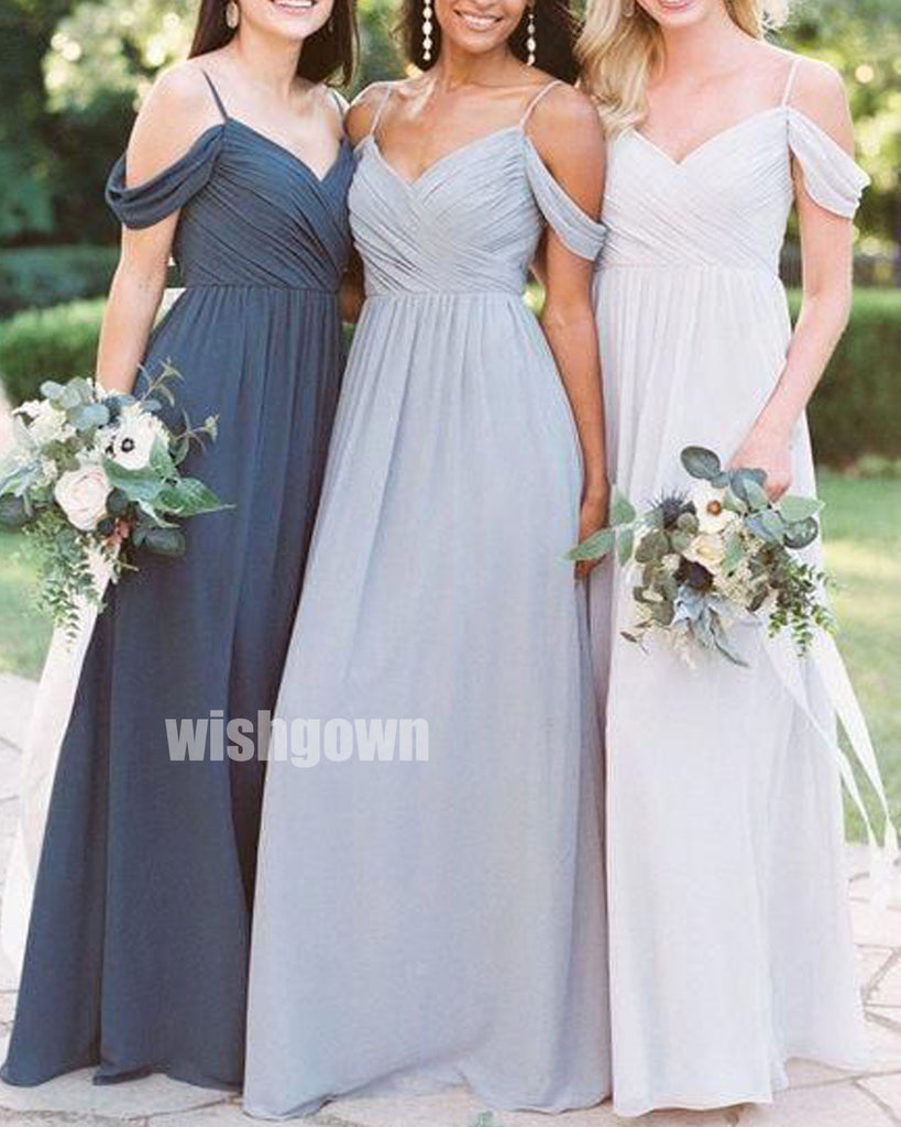 V-neck Spaghetti Strap Chiffon Long Bridesmaid Dresses YPS125