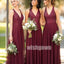 Sexy V-neck Halter Dark Red Tulle Long Bridesmaid Dresses YPS126