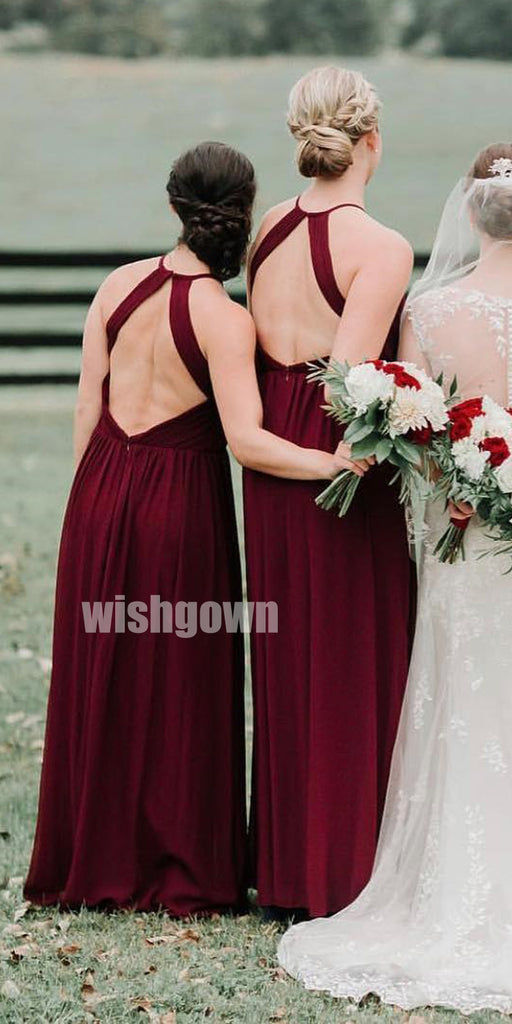 Sexy Red Halter Open Back Long Bridesmaid Dresses  YPS128