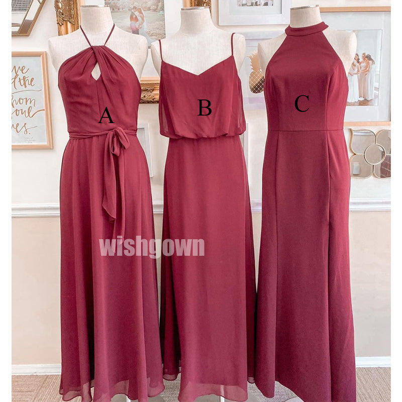 Popular Red Mismatched Long Wedding Bridesmaid Dresses, YPS129