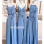 Popular Blue Mismatched Long Wedding Bridesmaid Dresses, YPS130