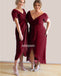 Elegant Simple Red Short Sleeves Long Bridesmaid Dresses, YPS134