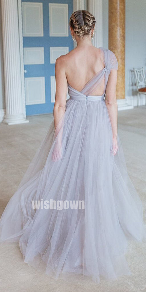 Elegant One-shoulder A-line Tulle Long Bridesmaid Dresses, YPS141