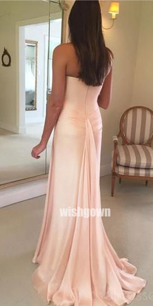 Popular One-shoulder A-line Long Bridesmaid Dresses, YPS143