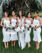 Elegant White One shoulder Mermaid Short Bridesmaid Dresses, YPS146