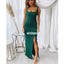Open Back Spaghetti Strap Split Side Long Bridesmaid Dresses, YPS148