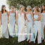 Simple Spaghetti Strap Split Side Long Bridesmaid Dresses, YPS149